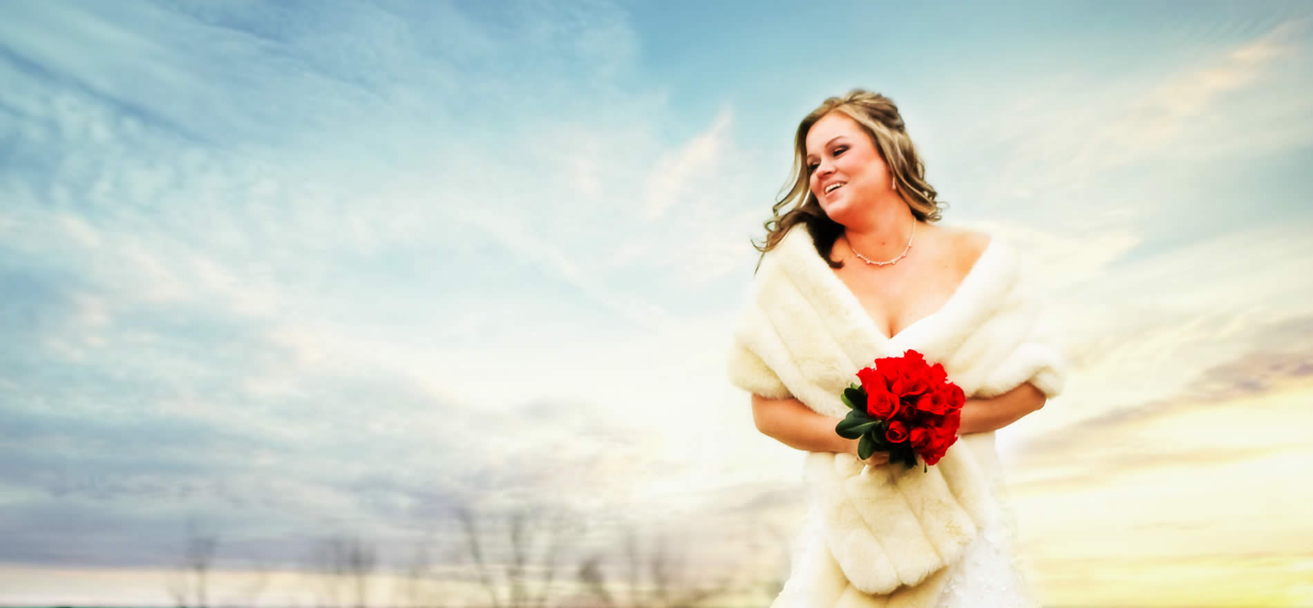 farm wedding near louisville ky - bride in snowy field